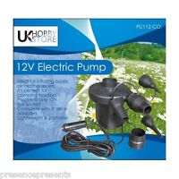 12v UKHOBBYSTORE FAST FLOW ELECTRIC AIRBED PUMP BLOW UP LILO AIR BED INFLATER UK