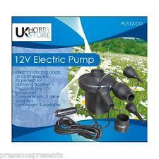 12V ukhobbystore veloce flusso elettrico MATERASSINO POMPA saltare LILO LETTO GONFIABILE INFLATER UK
