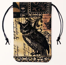"Owl Lined Tarot Bag 5""x7"" Drawstring Pouch Runes Pendulum Crystals Dice"