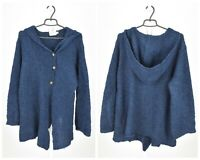 Womens The Masai Knit Jacket Cardigan Hooded Blue Wool Blend Oversized Size L
