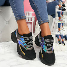 WOMENS LADIES GLITTER RAINBOW LACE UP CHUNKY TRAINERS WOMEN SNEAKERS SHOES