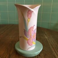 Vtg Pink Floral Vase Japan Gold trimmed flower beautiful shape multi color iris