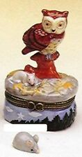 OWL with MOUSE-Porcelain Hinged-Box-also an ADDITIONAL MOUSE TRINKET