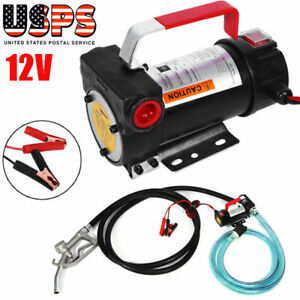12V 10GPM Electric Diesel Oil Fuel Transfer Extractor Pump w/ Nozzle & Hose.