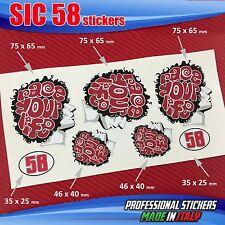 Set n.7 adesivi SIC 58 Simoncelli race your life testa red SIC1