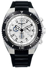 Jorg Gray Mens JG9700-22 White Dial Black Silicone Band Stainless Steel Watch