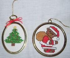 Completed Cross Stitch Ornaments Santa Teddy Bear Sack Chimney Christmas Tree