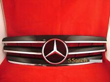 Mercedes W203 Grill C230 C320 C240 Grille BK 3 FIN + Benz flat hood emblem badge