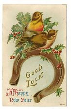 ANTIQUE NEW YEAR POSTCARD TWO BROWN RED BIRDS ROBINS GOLD HORSESHOE HOLLY 1910