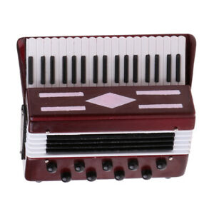 1/6 Scale Musical Instrument Wooden Accordion for Action Figures Doll Red