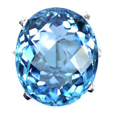 DAZZLING 21.4 CT BLUE AQUAMARINE & SAPPHIRE OVAL STERLING SILVER 925 RING SIZE 6