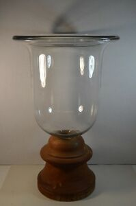 Large Glass Urn with Wood Base
