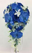 Artificial Silk Flower Blue/Cream White Orchids Teardrop Wedding Bouquet