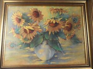 Retro Vintage SAVA CANAKIS oil pastel crayon Australian art painting SUNFLOWERS