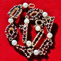 14k yellow gold bracelet I LOVE YOU 3.78ct garnet vintage handmade 9.8gr