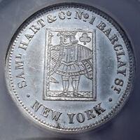 (1850s) Merchant Token - Samuel Hart, Phila, MS61 NGC - PA-197B - Playing Cards