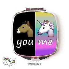 Funny Emoji Unicorn Horse Cute Compact Make up Handheld pocket Mirror Gift CEM4
