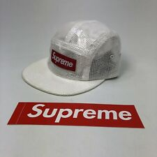 SUPREME X CAP Laminated Box Weave Camp Cap Nov2017 Collection White Red Box Logo