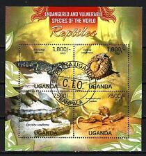 Animaux Reptiles Ouganda (169) série complète 4 timbres oblitérés