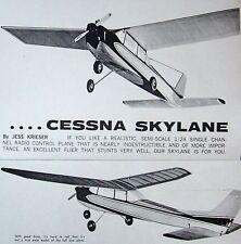"""Vintage SKYLANE 42"""" Krieser & Goldberg TWO RC Model Airplane PLANS + Mag Article"""