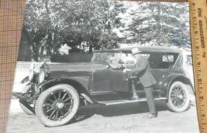 Vintage Photo  Man Standing Pose Car Transportation Vehicle Automobile - signed