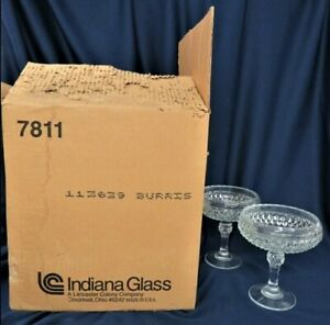 8 NEW INDIANA GLASS 7811 DIAMOND POINT CLEAR PEDESTAL CANDY DISHCOMPOTES BOWLS