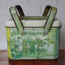 "Vintage Potpourri Press Tin Picnic Box With Handles Lunchbox 6"" Christmas Scene"