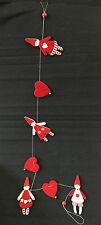 Weihnachten Filzkette Wichtel und Herzen Baumbehang Fensterdeko 120 cm