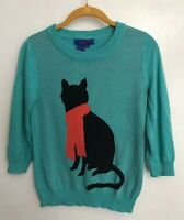 Twiggy London Sweater Black Cat Kitty Scarf 3/4 Sleeve Teal Turquoise Size XS