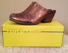 Very Volatile Daytons Mules METALLIC BRONZE Brown Western Booties Womens 6 M NEW