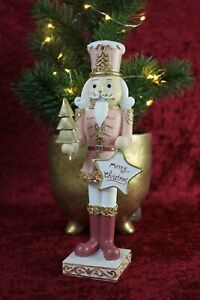 Clayre & Eef Nußknacker m. Tannenbaum Rosa Gold Weihnachtsdekoration 22cm NEU