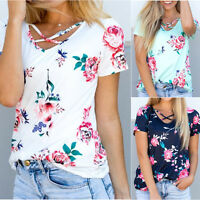 Women Short Sleeve T Shirt Floral Print Criss Cross Front V Neck Tops Blouse US