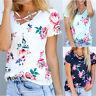 Casual Women Loose Shirt Short Sleeve Cotton Blouse Tops Floral Summer T-shirts