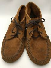 Minnetonka Suede Ankle Boots Shoes Size 7 Women's Brown Low Moccasins