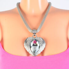 Halskette Flügel Statement Kette Blogger Farbe Silber Engelsflügel Strass Herz