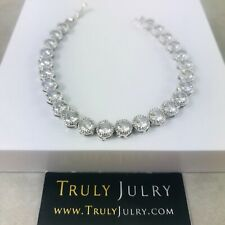 UK Ladies Luxury Designer Silver Crystal Tennis Bracelet Jewellery With Gift Box