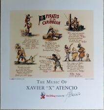 "Disney Xavier ""X"" Atencio Autographed Print Lyrics to Pirates of the Caribbean"