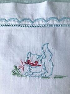 Vintage Baby Pillowcase Hand Embroidery Kitten White Cotton 1960s - 70s