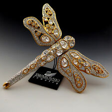 New With Tag Swarovski Crystal Dragonfly Gold Plated Rhinestone Pin Brooch