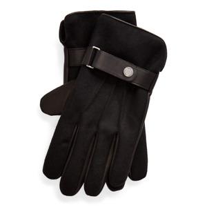 Polo Ralph Lauren Men's Hybrid Touch Gloves Black Leather/Wool Size L