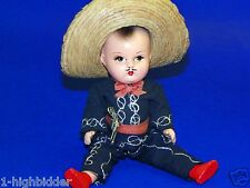 "Vtg 1940s Mexican Latino Compo Composition 9"" Cowboy Straw Hat Sombrero Boy Doll"