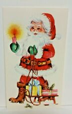 Vintage 1960s 1970s Santa Claus Holding Candle w/ Sled Christmas Card - Used