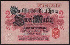 1914 2 Mark WWI German Old Vintage Paper Money Banknote Currency World War XF