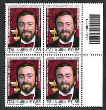 Italia Repubblica 2009 : Luciano Pavarotti - quartina con codice a barre