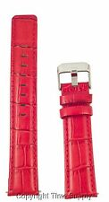 18 mm RED LEATHER WATCH BAND CROCO WITH SPRNG BARS