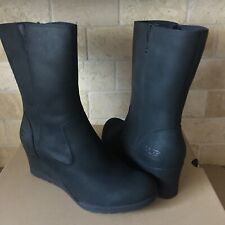 UGG Joely Waterproof Black Leather Fur Wedge Short Boots Size 10 Womens