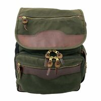 Orvis Battenkill Businessman's Backpack Green Canvas/Leather Engraved Logo Flap