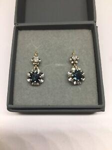 Boucles d'oreilles Or 18ct/Platine Diamants et Saphirs