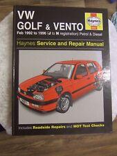VW GOLF & VENTO 1992 ~ 1996 PETROL & DIESEL HAYNES SERVICE & REPAIR MANUAL 3097