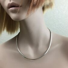 """925 Silver Italy Stamped Curved Snake 18"""" Choker Necklace 21.8g"""